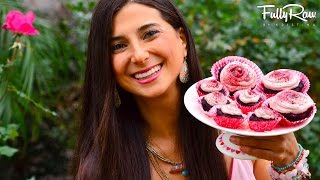 fullyraw red velvet cupcakes with strawberry vanilla icing