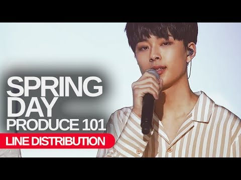 PRODUCE 101 - Spring Day : Line Distribution Color Coded
