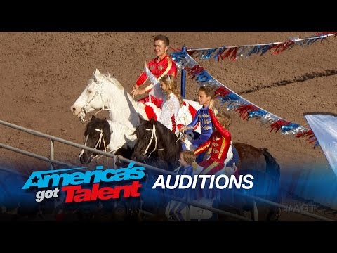 Wild West Express: Group Performs Gymnastics While Riding Horses - America's Got Talent 2015