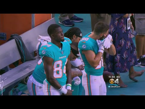 Three Dolphins Players Protest During National Anthem Of First Preseason Game