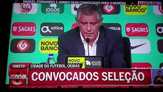 Fernando Santos revela Os 23 convocados de Portugal para o Mundial 2018