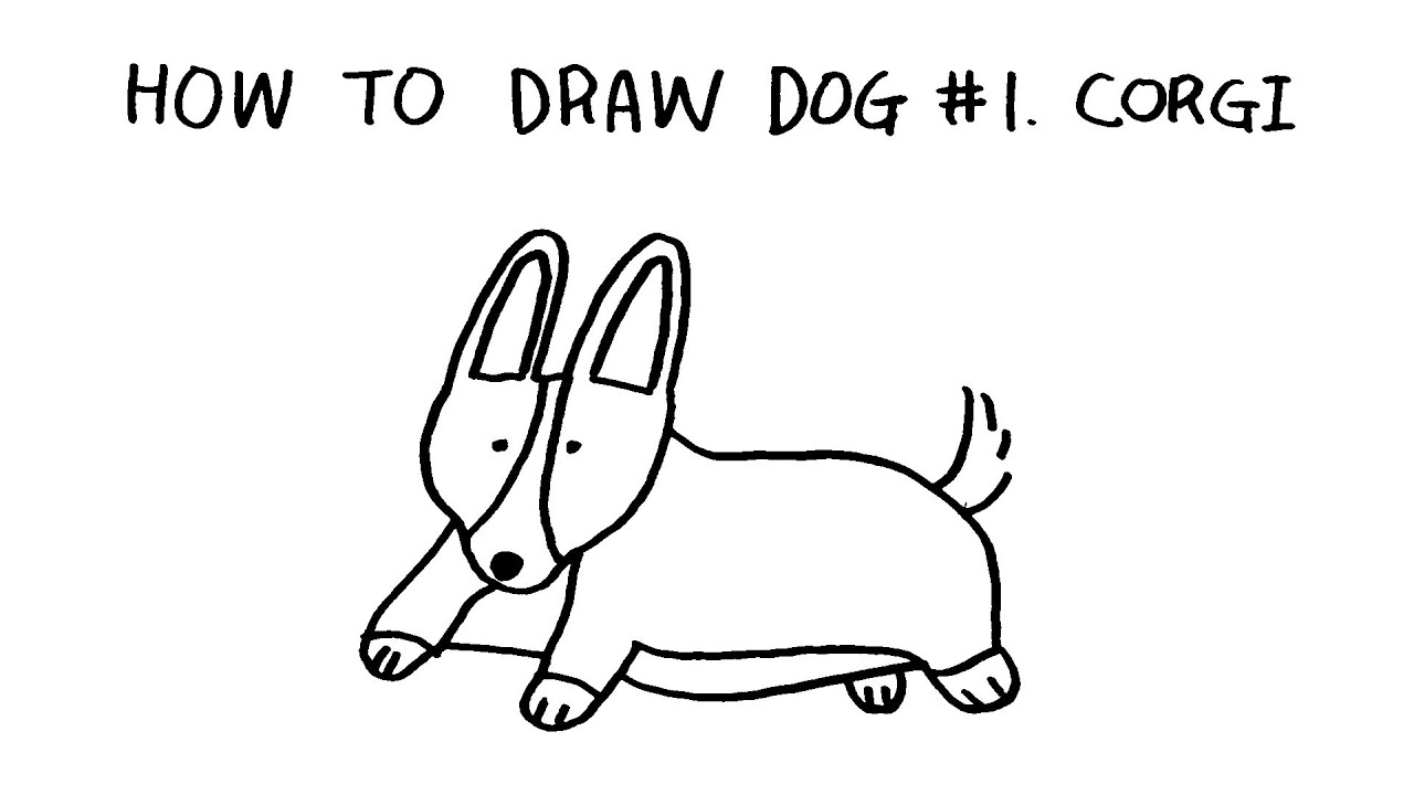 happy drawing  how to draw dog  1 corgi