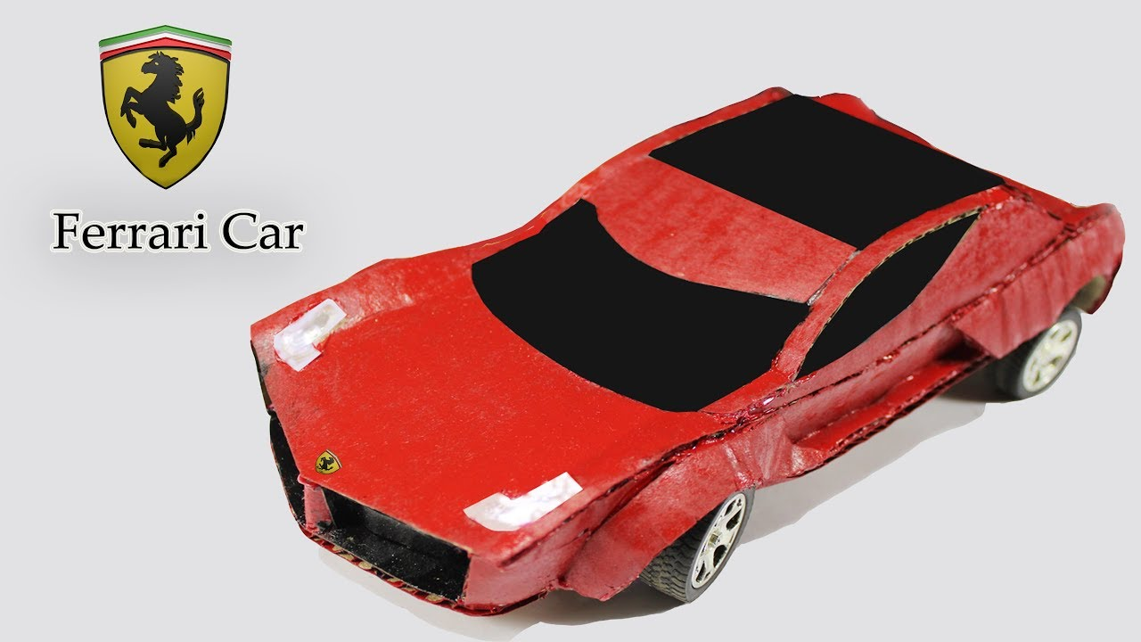 make a Ferrari Car From Cardboard at Home - YouTube
