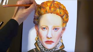Speed Painting - Drawing Cate Blanchett Elizabeth I Tudors with Colored Pencils