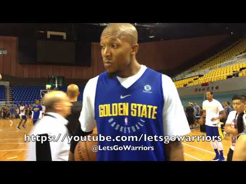 DAVID WEST with Larry Beil of ABC7 plus Warriors shooting around before Shenzhen practice