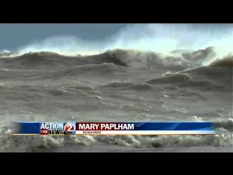 Sandy Creates Giant Waves on Lake Michigan
