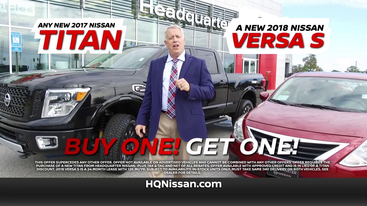 buy a 2017 nissan titan and get a 2018 nissan versa for free - youtube