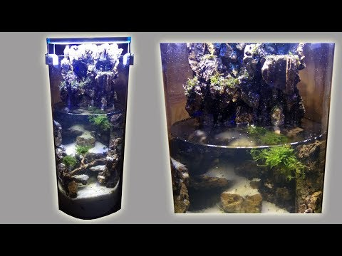 Aquascape Waterfall and Artificial Stalactite on Glass Tube Using DIY Canister Filter