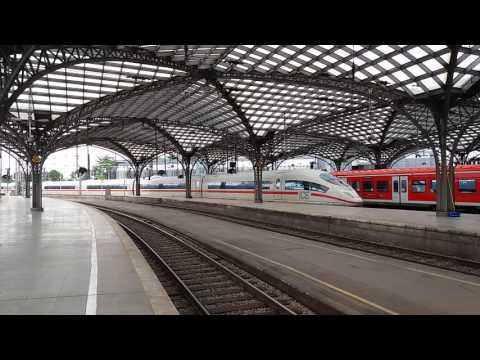 The high-speed train ICE 3 of Deutsche Bahn departing from Cologne central station (Germany)