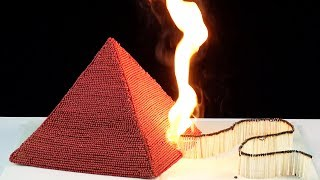 Experiment: fire domino,over 10000 matches pyramid amazing chain reaction