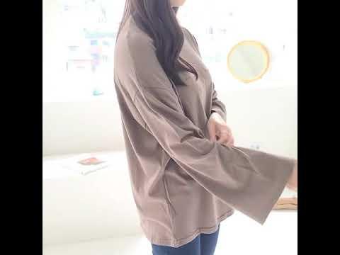 앞절개 여성 긴팔 티셔츠 슬리브