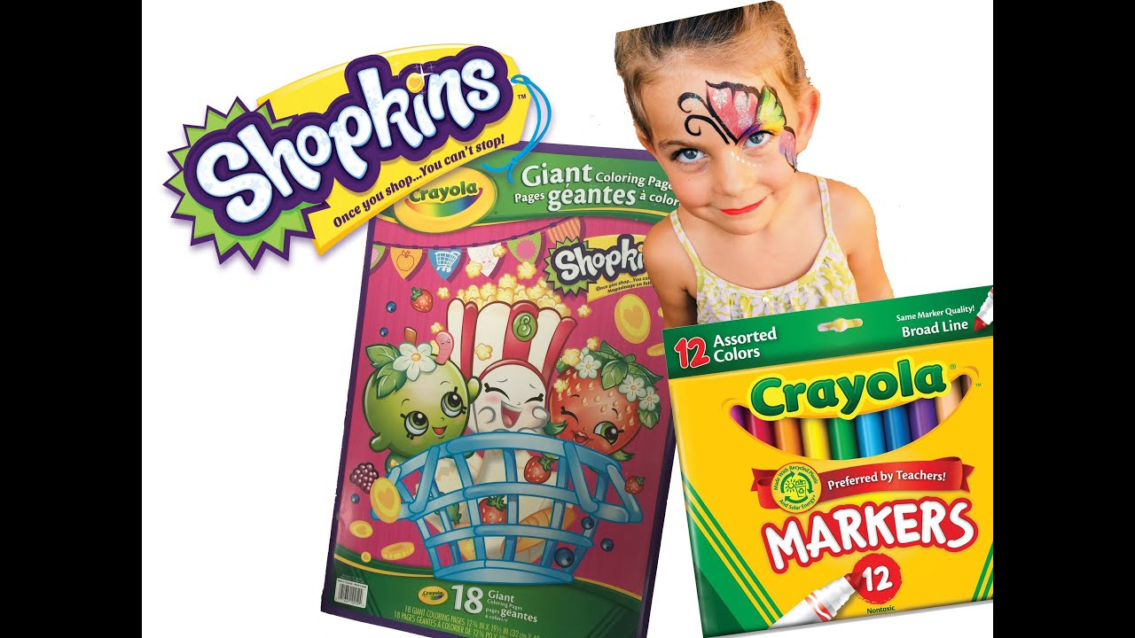 SHOPKINS Crayola Giant Coloring Book - YouTube