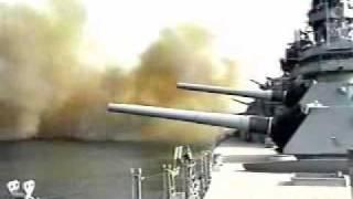 USS Wisconsin firing 16IN guns!