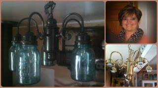 Mason Ball Jar Project - Primitive Chandelier