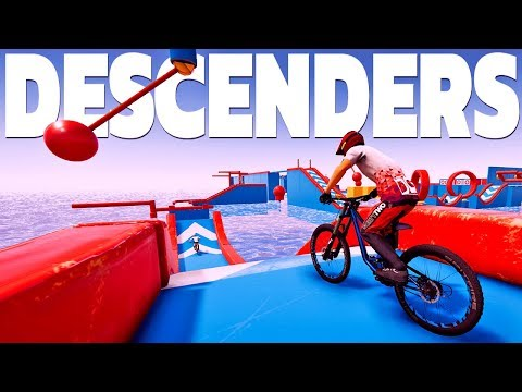 Crashing Through A Wipeout Course On A Bike! - New Modded Maps - Descenders Gameplay