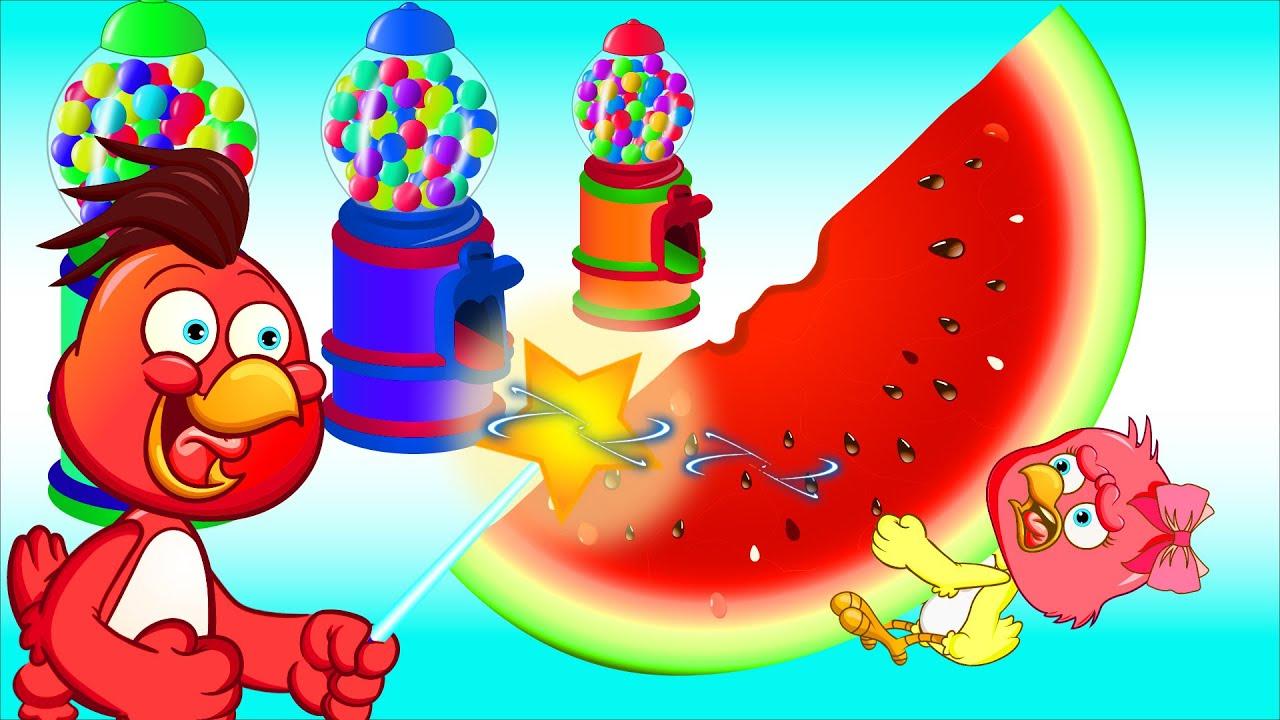 A Galinha Magricela transformando máquinas de doces em miniatura, doces coloridos - Nursery Rhymes