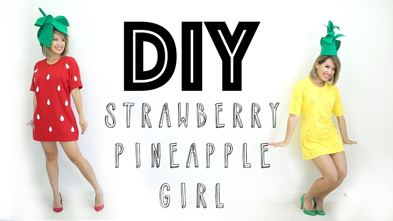 Halloween DIY Costume | Strawberry & Pineapple Girl | ANN LE - YouTube