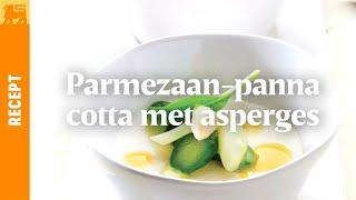 Parmezaan-panna cotta met asperges en sinaasappelstroop