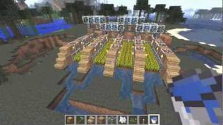Builiding of Semi-Auto Wheat Farm Minecraft Tutorial (Works in 1.8)