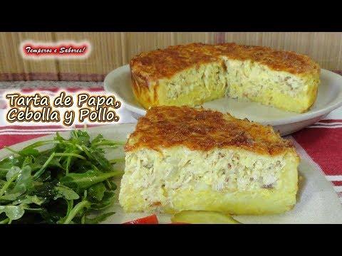 TARTA DE PAPA, CEBOLLA Y POLLO, deliciosa y muy fácil