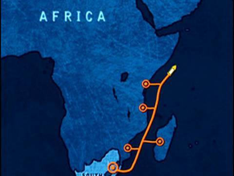 Construction of East Africa's undersea fibre optics cable.