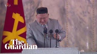 Kim Jong-un cries during speech at military parade
