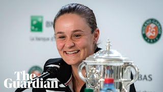 Ashleigh Barty celebrates winning French Open and first grand slam title