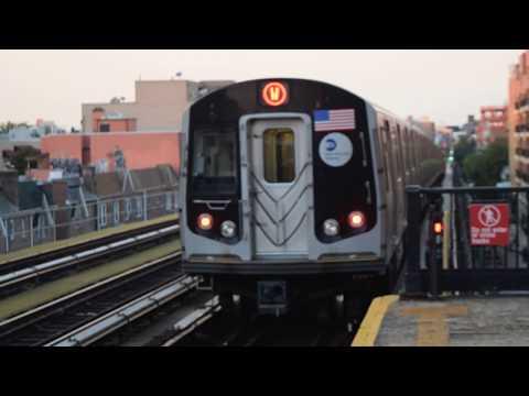 RARE! Astoria-Ditmars Boulevard-bound R160B/B Siemens (W) train leaving Broadway (BMT Astoria Line)