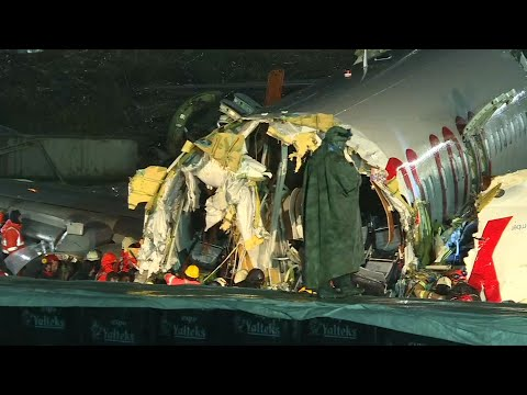 Part of plane that split into three on landing at Istanbul airport   AFP