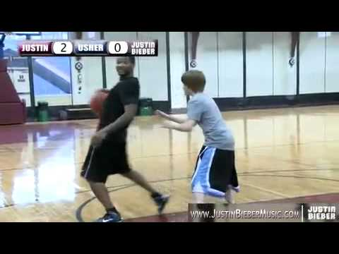 Justin Bieber and Usher Playing Basketball in NYC