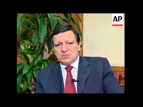 WRAP Barroso arrival plus Mandelson comment on anti-dumping probe