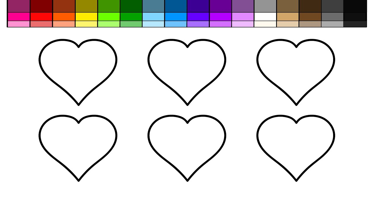 learn colors for kids and color 6 hearts coloring page youtube