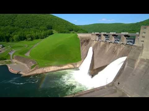 Flyover of kinzua dam and allegheny reservoir in pennsylvania