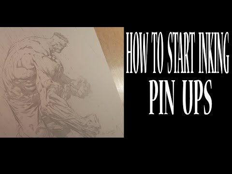 How To Start INKING a Pin Up  David Finch HULK