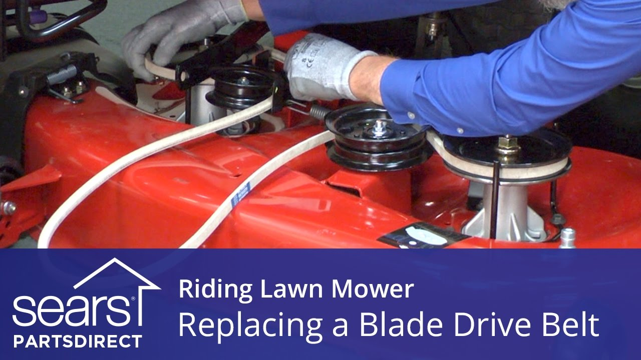 replacing a blade drive belt on a riding lawn mower