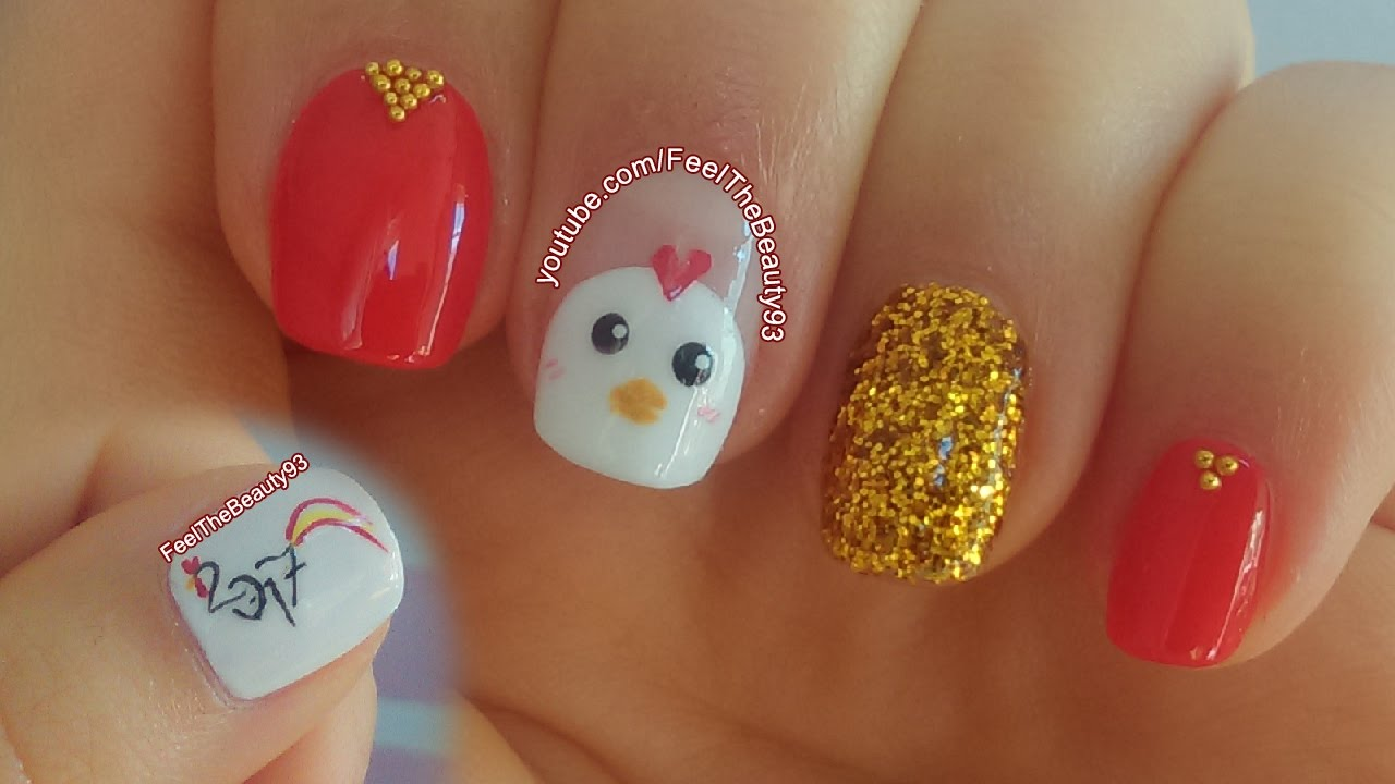 Chinese New Year Nail Art 2017 - Chicken/Rooster Nail Art - YouTube