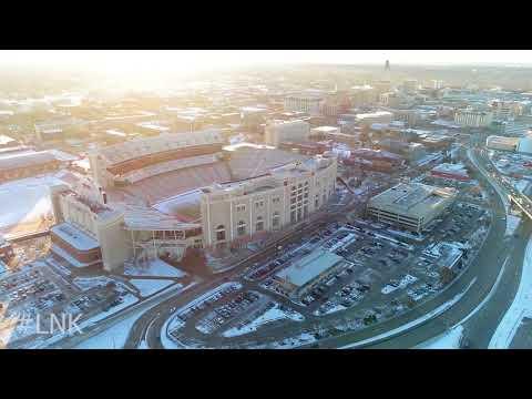 Lincoln Nebraska City Winter Morning Drone Flight