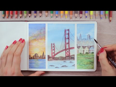 watercolor-pencils-painting-ideas-san-francisco-inspired-|-art-journal-thursday-ep.-45