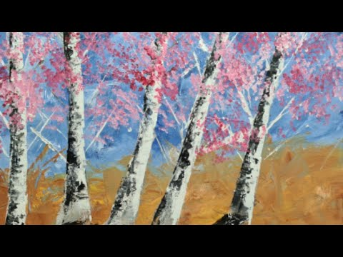 Easy Acrylic Painting Techniques for Beginners with Palette Knife Basic Tutorial Landscape noufal