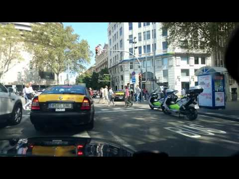 Driving in Barcelona city