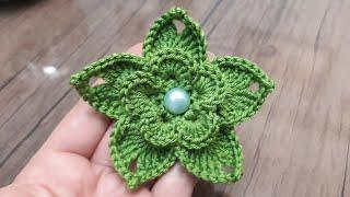 3D tığ işi örgü çiçek nasıl yapılır #örgüçiçekmodelleri #süslemeçiçeği