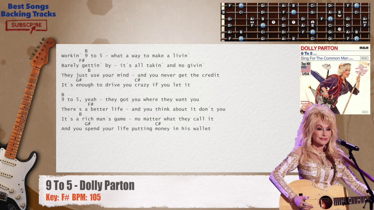 🎸 115 To 15   Dolly Parton Guitar Backing Track with chords and lyrics