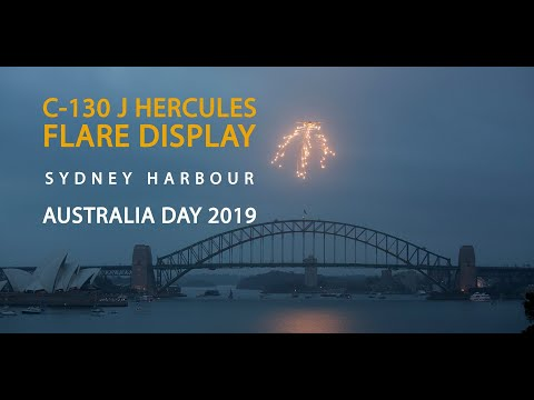 C-130J Hercules Flare Dispense Over Sydney Harbour For Australia Day 2019