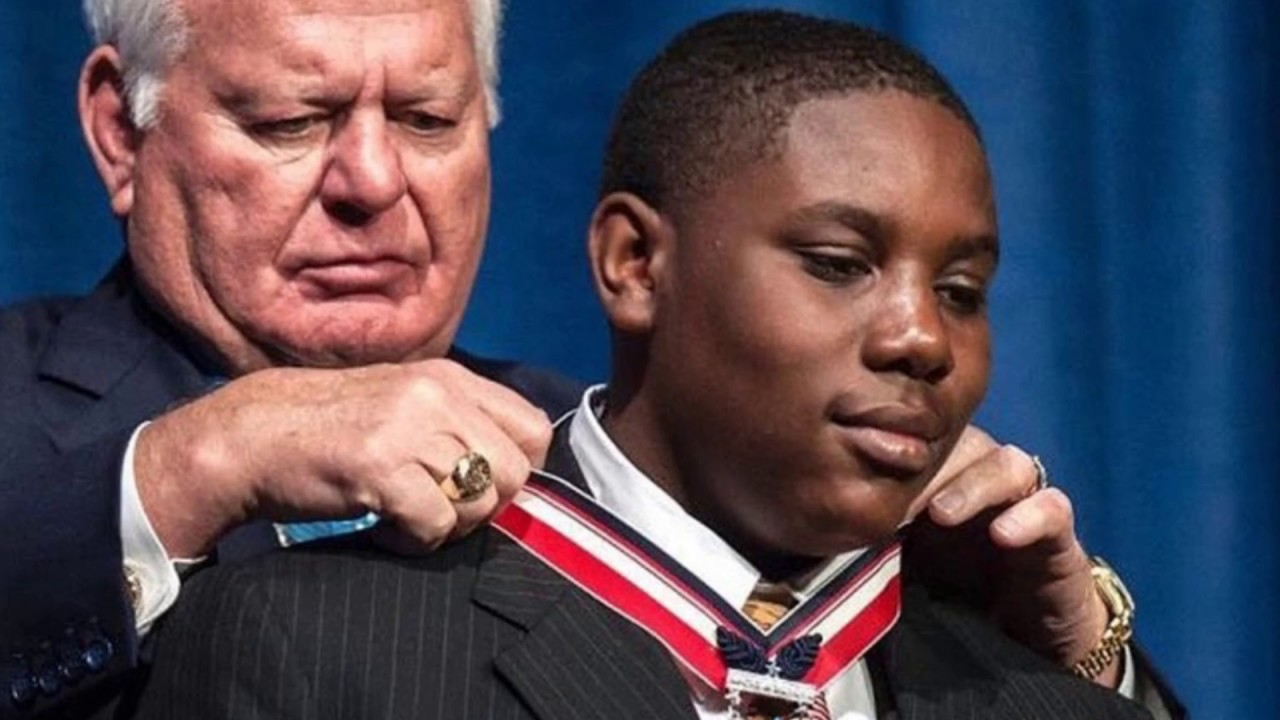 13-year old receives prestigious award for saving 17 people during Hurricane Harvey