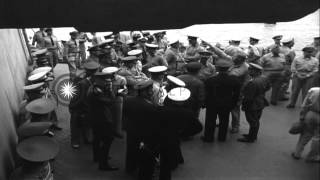 Japanese surrender ceremonies aboard USS Missouri in Tokyo Bay. HD Stock Footage