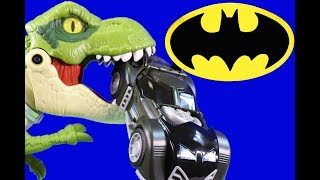 Imaginext Jurassic World Mega Mouth T-rex + Dinosaur Vs Batman ! Superhero Toys