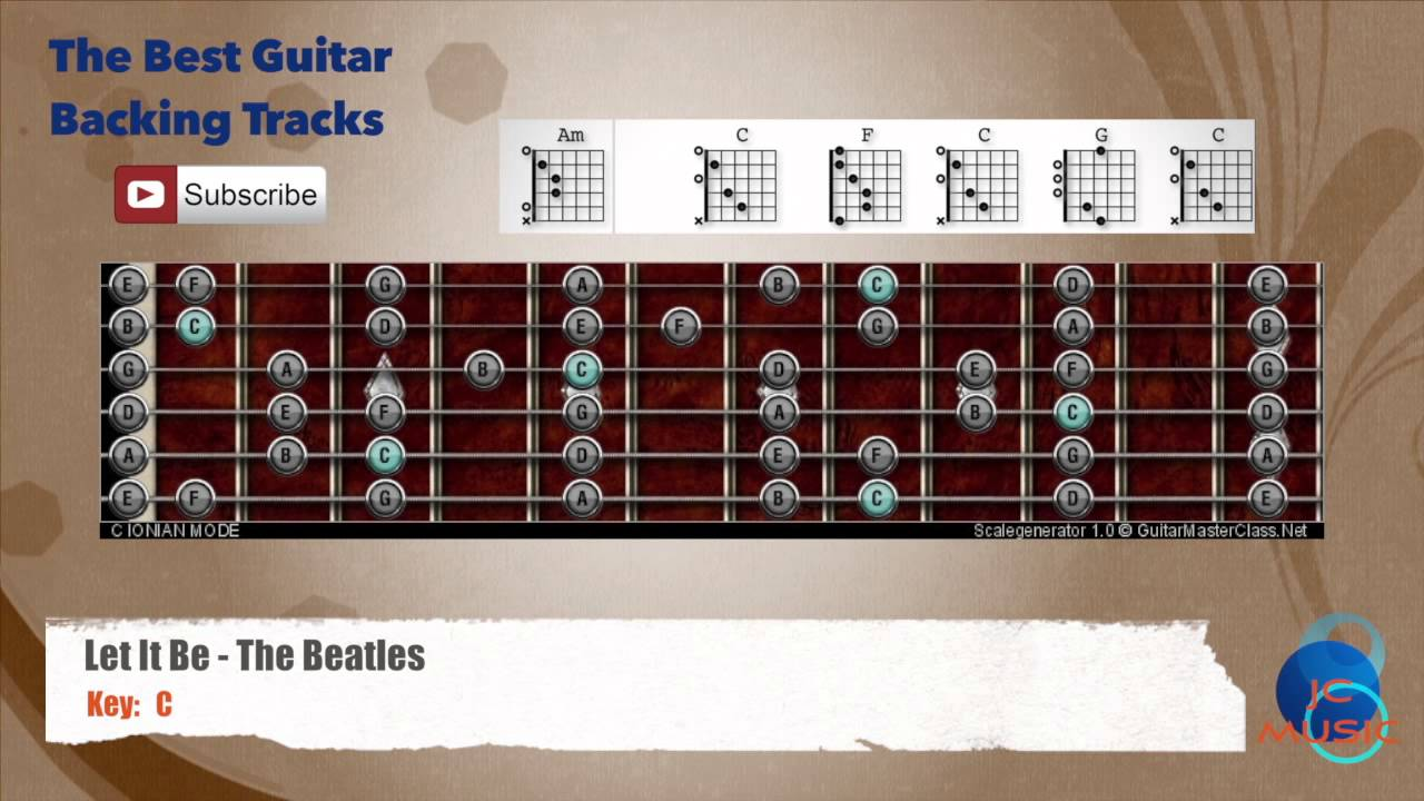 Let It Be The Beatles Guitar Backing Track With Scale Chart And