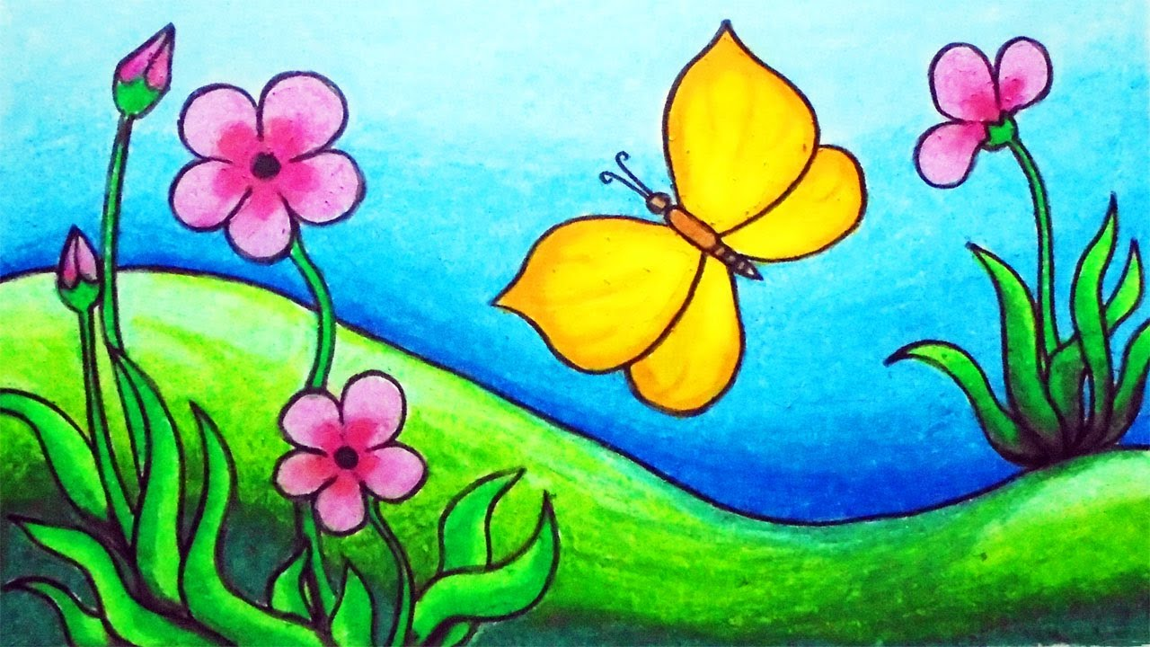 How To Draw Butterfly Scenery Step By Step Easy Butterfly In The Garden Scenery Drawing Youtube