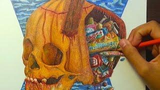 """""""Pumpkin-Skull"""" Drawing (""""Trick or Treat?"""")"""