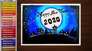 โปสการ์ดวันปีใหม่ ด้วยสีชอล์ค How to draw New Year Postcard 2020
